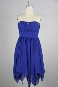 Ruched Strapless A line Chiffon Blue Bridesmaid Dress