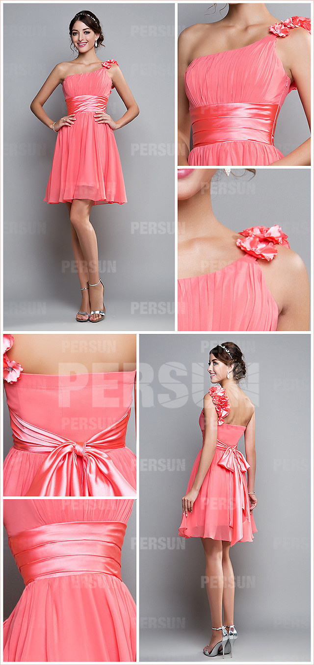 short one shoulder flower pink bridesmaid dresses