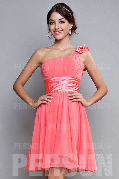 Dressesmall Sweet Hand Made Flower Ruching One Shoulder Chiffon A line Bridesmaid Dress