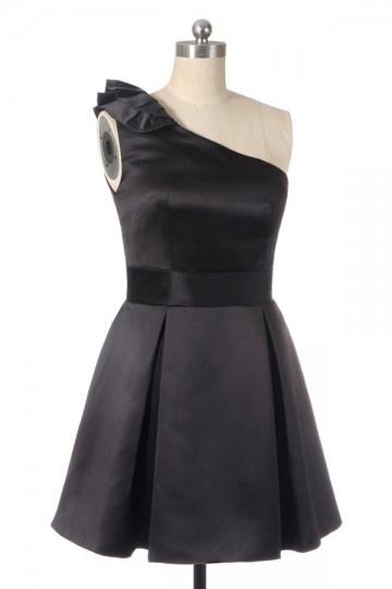 Dressesmall Sweet Ruffle One Shoulder Taffeta A line Semi Formal Cocktail Dress
