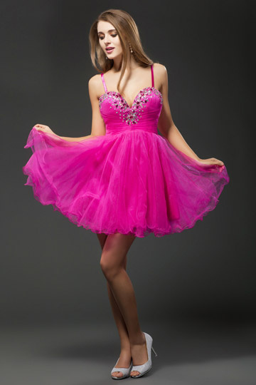 Sweetheart Beading Fuchsia Sweet Tulle Cocktail Dress