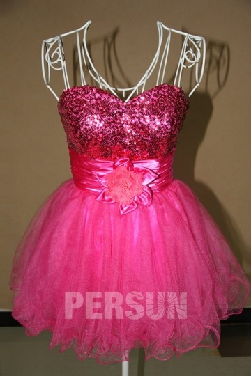 Sweetheart Sequins Flower Sweet Tulle Cocktail Dress