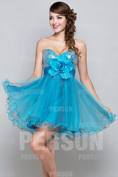 Sweetheart Tulle Sequins Flower Short Blue Cocktail Dress