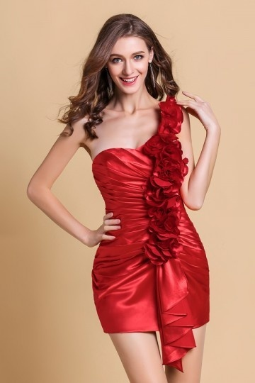 Dressesmall Sweet Flower One Shoulder Satin Column Orange Semi Formal Cocktail Dress