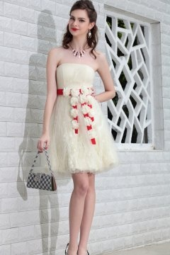 Tulle Strapless Flower Short Beige Cocktail Dress In Stock