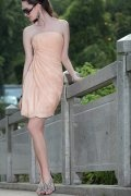 Sheath Strapless Ruched Short Chiffon Cocktail / Homecoming Dress