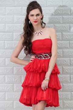 Bungay Strapless Ruching Tiers Red Cocktail Dress