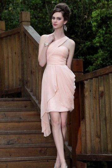 Ruched One Shoulder Sheath Pink Short Chiffon Bridesmaid Dress