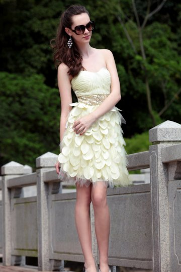 Strapless Yellow Beading Sequins Chiffon Prom / Cocktail Dress
