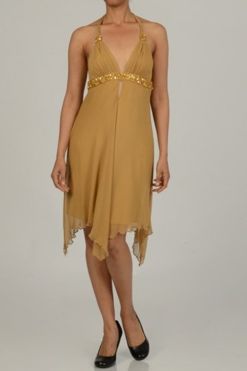 Halter Beading Ruching A-line Chiffon Cocktail Dress