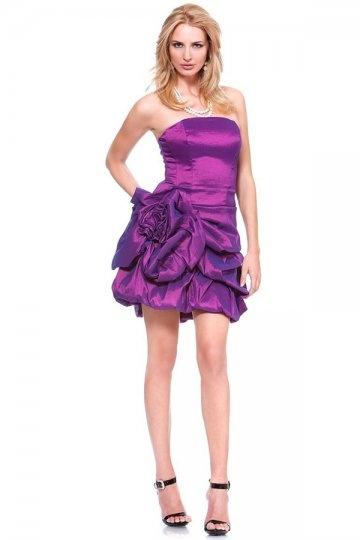 Dressesmall Pick Up Skirt Strapless Taffeta Fuchsia Sheath Cocktail Dress