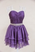 Sequined Ruffle Sweetheart Chiffon Purple A line Cocktail Dress