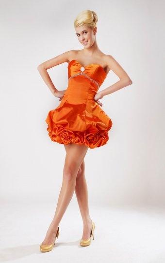 Dressesmall Pick Up Skirt Beaded Sweetheart Taffeta Orange Sheath Cocktail Dress