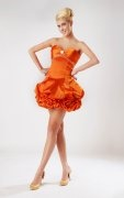 Pick Up Skirt Beaded Sweetheart Taffeta Orange Sheath Cocktail Dress
