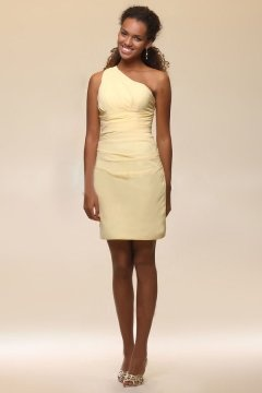 Simple One Shoulder Chiffon Sheath Short Yellow Bridesmaid Dress