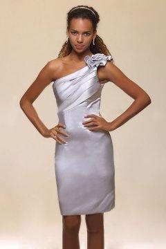Chic Flowers One Shoulder Silk like satin Grey Bridesmaid Dress