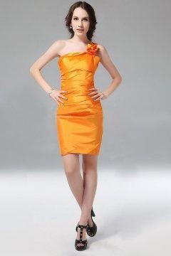Chic Flower One Shoulder Sleeveless Taffeta Sheath Orange Cocktail Dress