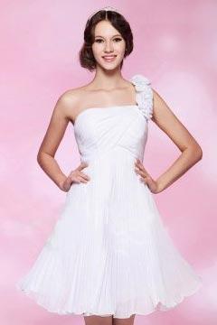 One Shoulder Ruched Backless Short Chiffon Cocktail Dress