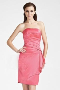 Simple Ruching Side Draping Strapless A Line Pink Cocktail Dress