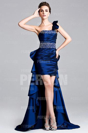 Kurzes Ein-Schulter Perlen festliches Kleid mit abnehmbaren Rock - € ...