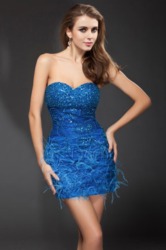 Sheath Shining Sequins Sweetheart Feather Blue Mini Cocktail Dress