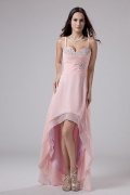 Chic Pink Chiffon High Low Spaghetti Straps Beading Cocktail Dress