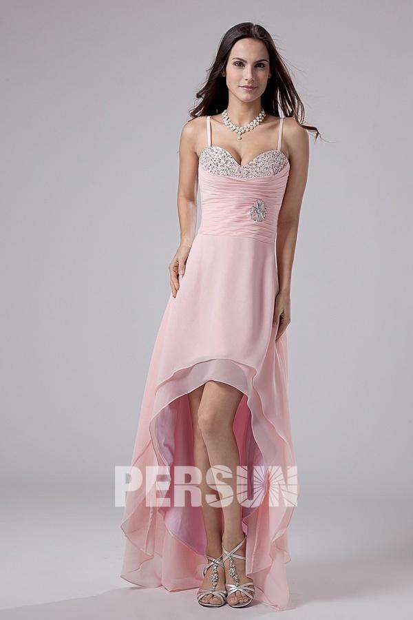 robe pour bal courte devant longue arri re avec fines bretelles. Black Bedroom Furniture Sets. Home Design Ideas