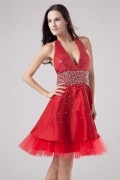 Sexy Red Taffeta A Line Short Empire Sequins Cocktail Dress