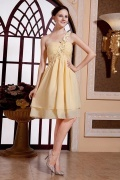 Simple Chiffon One Shoulder Daffodil Knee Length Cocktail Dress
