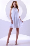 Elegant Chiffon White Round Neck Short Beading Cocktail Dress