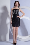 Sheath Strapless Satin Short Black Beading Cocktail Dress