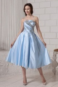 Tea Length Blue Modern Pleats Winter Prom dress