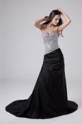 Reißverschluss Meerjungfrau Perlen bedecktes Taft Abiballkleid mit Schleppe