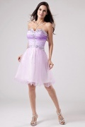 Beautiful Strapless Tulle A Line Short Flowers Cocktail Dress