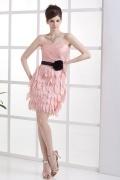 Schlichtes Etui Linie Rosa Band Herz-Ausschnitt Abiballkleid aus Taft