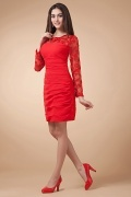 Elegant Chiffon Long Sleeves Sheer Appliques Sheath Red Evening Dress