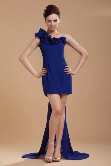 Dressesmall New Blue Sheath Chiffon One Shoulder Flower Cocktail Dress