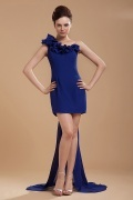 New Blue Sheath Chiffon One Shoulder Flower Cocktail Dress