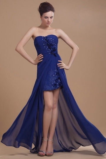 Dressesmall Sheath Blue High Low Chiffon Strapless A Line Cocktail Dress