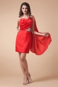 Simple One Shoulder Sheath Satin Short Beading Cocktail Dress