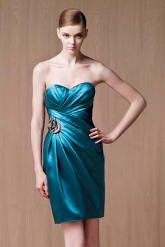 Chic Sweetheart Backless Sheath Ruching Blue Short Cocktail Dress