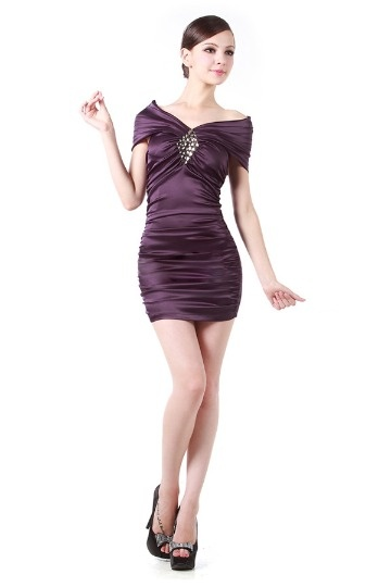 Vestido mini de cocktail envelope pregueado strass várias cores