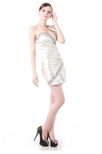 Süßes Ein Schulter Etui-Linie Perlen Schleife kurzes Cocktailkleid Persun