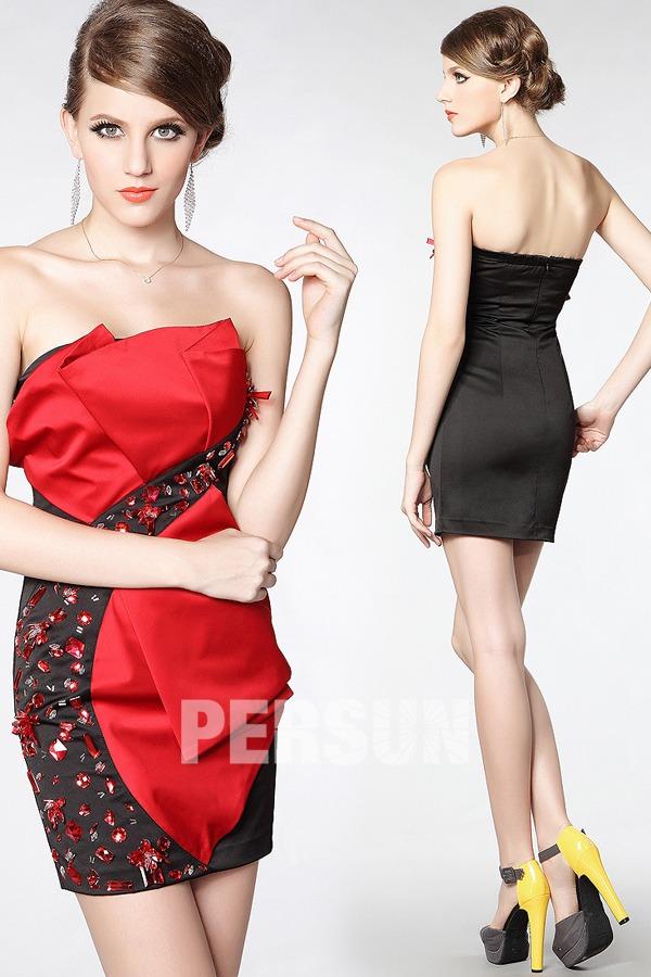 Mini robe fourreau bloc couleur noire & rouge avec rhinestones