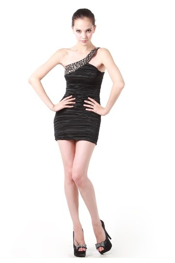 Vestido de cocktail curto plissado decorado de rhinestones Chiffon preto