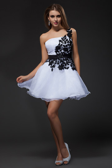 Dressesmall Amazing Organza One Shoulder Lace Applique Cocktail Dress