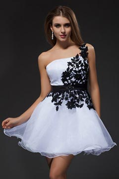 Seaford Black Rubbon Lace Applique White Cocktail Dress