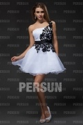 Amazing Organza One Shoulder Lace Applique Cocktail Dress