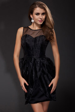 Seaton Black Boat Neck Perspective Cocktail Dress