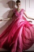 Vestido de Noche de Lyocell con Escote en V Encaje Abalorio Volante Corte A